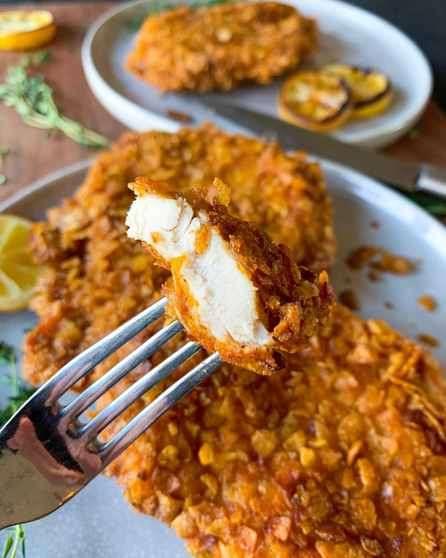 delicious cornflake chicken schnitzel